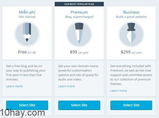 Các gói dịch vụ WordPress.com