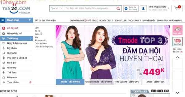 Yes24 trang mua sắm thời trang Hàn Quốc