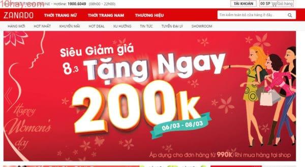 Zanado trang mua sắm thời trang uy tín của Việt Nam