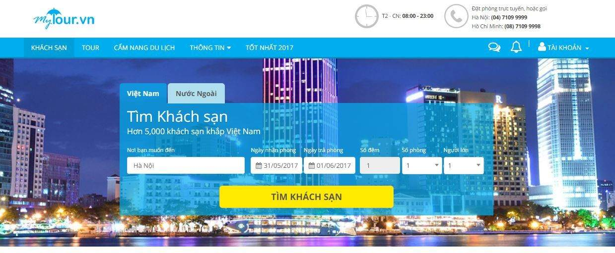Trang đặt phòng khách sạn toàn quốc Mytour.vn