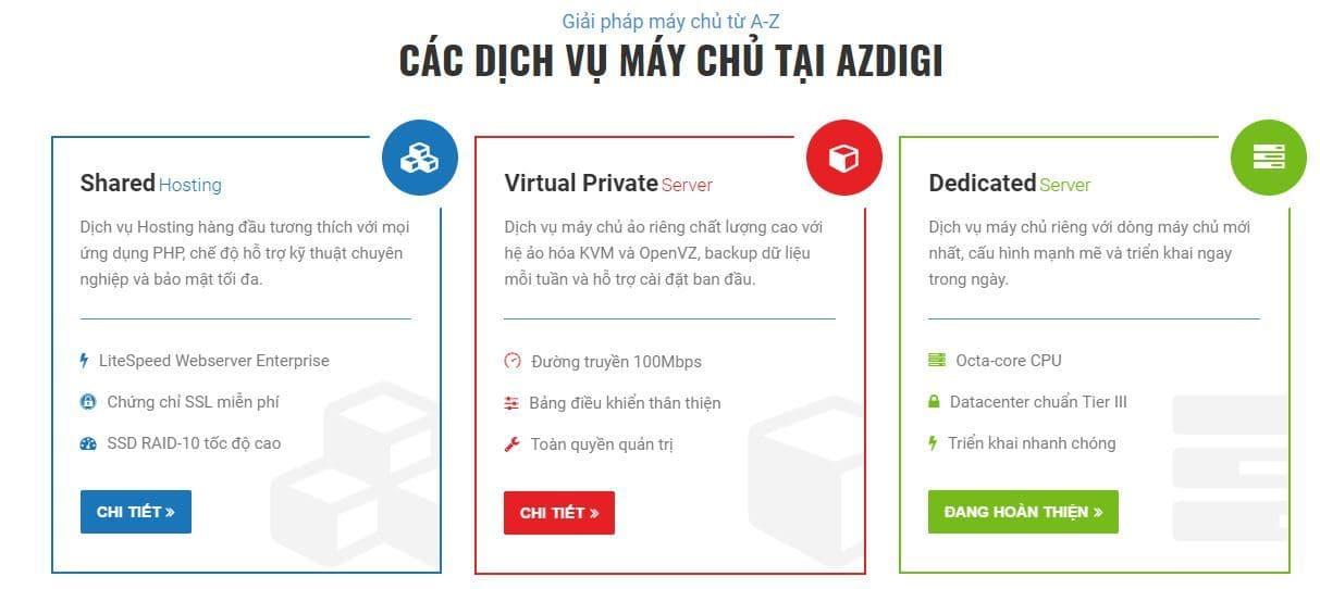 Dịch vụ hosting uy tín và chất lượng AZDIGI