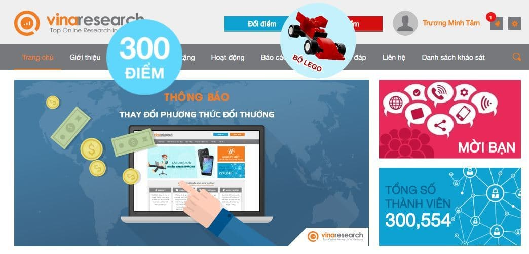 Trang khảo sát kiếm tiền online Vinaresearch