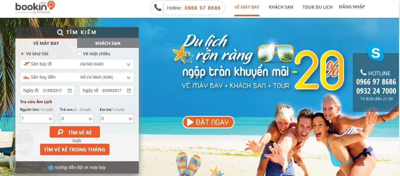 Trang mua vé máy bay online uy tín Bookin.vn