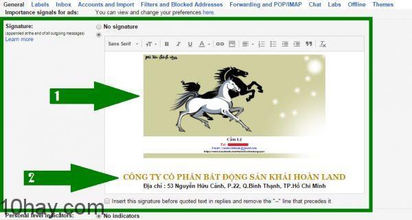 Sử dụng chữ ký trong Email