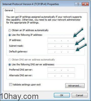 Điền đúng địa chỉ IP