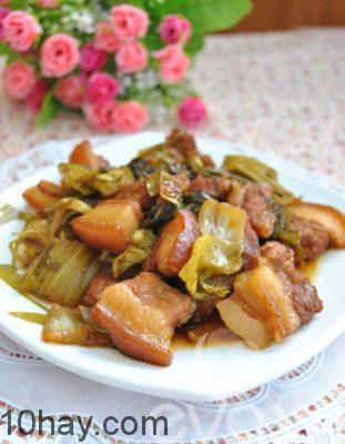 thịt kho dưa cải món thịt lợn kho ngon