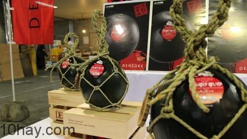 Những quả dưa hấu đen được trưng bày ở Nhật