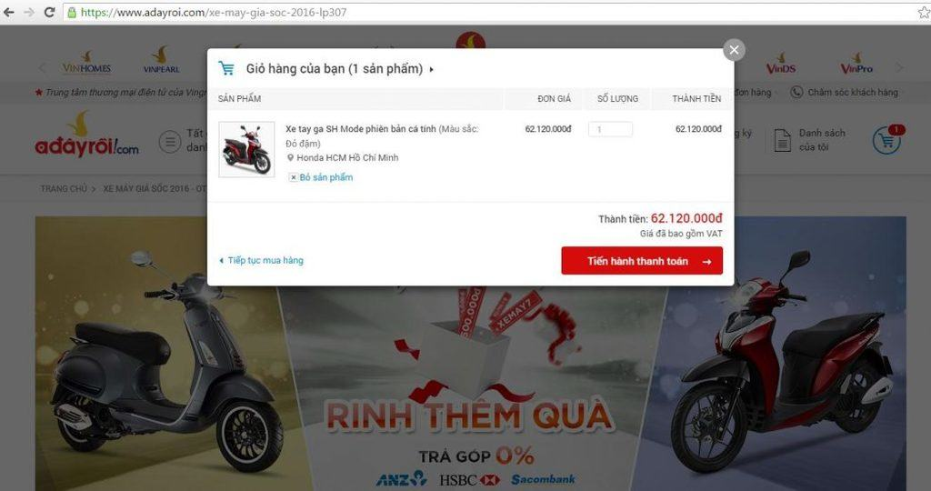 Chọn sản phẩm muốn mua trả góp vào giỏ hàng