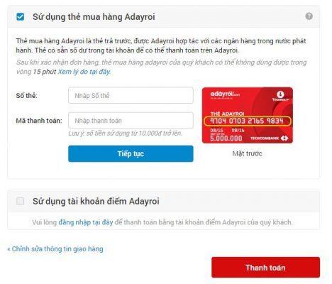 có thể sử dụng thẻ mua hàng của Adayroi