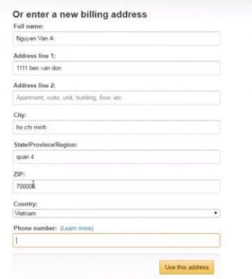 địa chỉ Billing Address