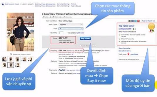 Chọn các mục thông tin sản phẩm