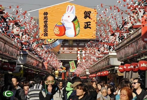 Không khí nhộn nhịp của lể hội năm mới Oshogatsu
