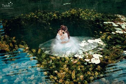 Độc đáo với ảnh cưới chụp dưới nước tại Tràng An