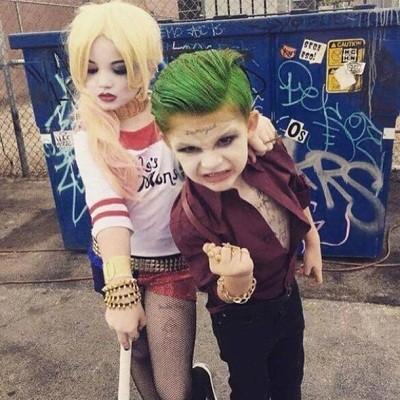 2 nhóc tỳ hóa trang thành Harley Quinn và Joker