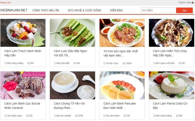 Web nấu ăn