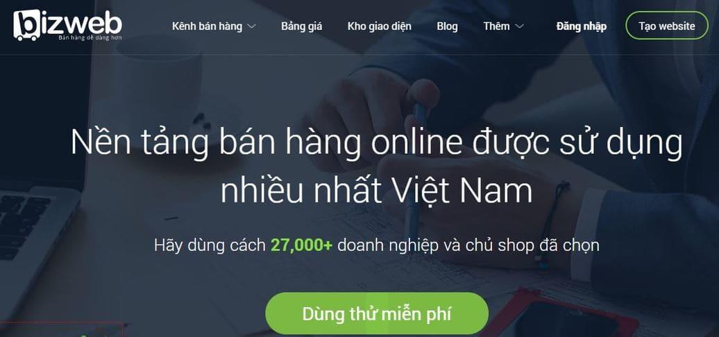 Dịch vụ thiết kế website bán hàng chuyên nghiệp Bizweb